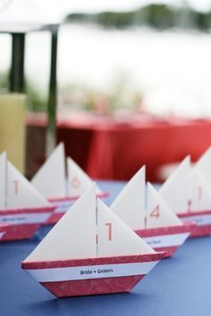 So cute - sailboats as place cards