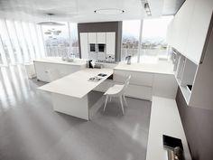Corian® Glacier White doors and top. #ArritalCucine #Kculture #modern #kitchen #Ak04