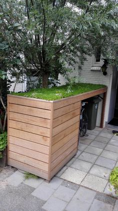 bike shed ideas * bike shed + bike shed diy + bike shed ideas + bike shed storage + bike shed plans + bike shed front garden + bike shed diy how to build + bike shed london Recycling Storage, Shed Storage, Small Storage, Hidden Storage, Small Garden Storage Ideas, Diy Storage Garden, Tiny Shed Ideas, Carport Storage, Very Small Garden Ideas