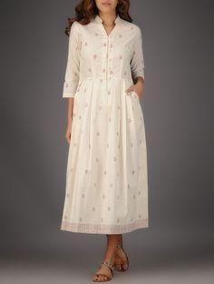 Ivory-Maroon Block-printed Muslin Maxi Dress