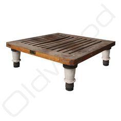 Vierkante industriele salontafel Stolik - hout met porceleinen poten - Oldwood - De Woonwinkel