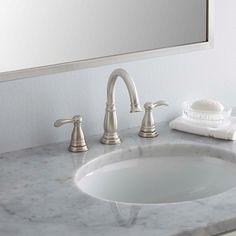 Delta Porter 8 in. Widespread Bathroom Faucet with Metal Drain Assembly. Delta Porter 8 i Bathroom Hardware, Bathroom Sink Faucets, Bathroom Fixtures, Concrete Bathroom, Brushed Nickel Bathroom Faucet, Remodel Bathroom, Restroom Remodel, Bathroom Bath, Boho Bathroom