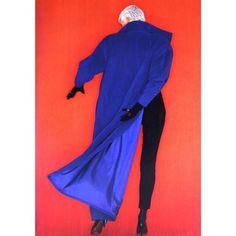 1986-87 - Model dressed in a Claude Montana long royal blue coat by Oliviero Toscani for ELLE (France) 15 September 1986