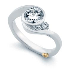 Mark Schneider Escape 1.12cttw freeform bezel set round diamond engagement ring