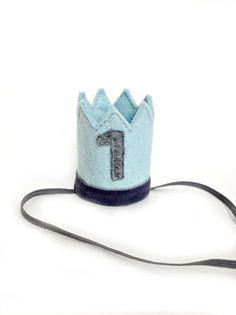 Birthday Crown Baby Blue Felt Crown Headband MINI - Any Color  - Any Age Number