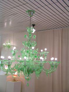 love, love, love, love this green glass chandelier!
