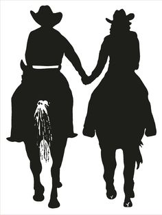 Couple riding horses and holding hands horse trailer decal. Horse Silhouette, Silhouette Clip Art, Silhouette Projects, Cowboy Art, Cowboy And Cowgirl, Metal Art, Wood Art, Horse Stencil, Lorie