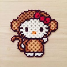 Hello Kitty - Year of the Monkey perler beads by kittybeads
