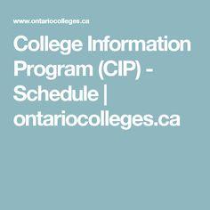 College Information Program (CIP) - Schedule | ontariocolleges.ca