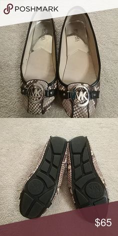 Michael Kors Embossed Snake Print Leather Flat Michael Kors Fulton Embossed Snake Print Leather Flat. EUC. Only worn a few times as you can see by pics. Black/Gray/White Michael Kors Shoes Flats & Loafers