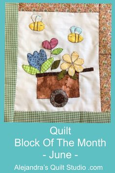 Quilt Block Of The Month June Quilt Studio, Block Of The Month, Hand Applique, Quilting Ideas, Quilt Blocks, June, Make It Yourself, Embroidery, Quilts