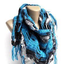 fall fashion blue shawl,scarf ,crocheted scarves ,blue gray black white ,colorful neckwarmer ,acrylic crochet cowl on Etsy, $35.00