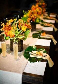 57 Cheerful Tropical Wedding Table Settings | HappyWedd.com