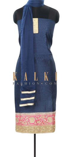 Buy Online from the link below. We ship worldwide (Free Shipping over US$100) Price- $49 Click Anywhere to Tag http://www.kalkifashion.com/navy-blue-unstitched-suit-enhanced-in-aari-embroidery-only-on-kalki.html
