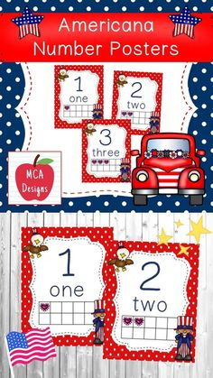 Aug 28, 2020 - These adorable number posters are part of my Americana classroom decor collection. Each poster is accented with bright colors and patriotic themed graphics :) This set features numbers 1-10 including corresponding ten-frames for the visual learner. #teacherspayteachers #tpt #classroomdecor #numbers