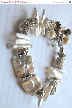 ON SALE chunky charm bracelet mabe pearl bracelet by soulfuledges, $54.88