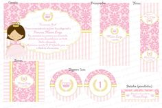 Kit Digital Princesa - Arabescos e listras - Rosa antigo - envelhecido e dourado - Charme Papeteria