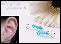 wire wrapped earvine silver and blue