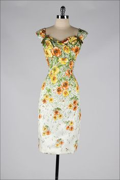 vintage+1950s+dress+.+floral+silk+.+velvet+by+millstreetvintage,+$315.00