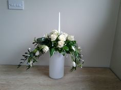 White Rose and Tulip Inverted Crescent candle arrangement with lights