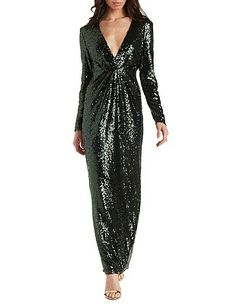 Plunging Long Sleeve Sequin Maxi Dress: Charlotte Russe