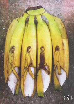 This Artist Uses Banana Peels To Create Eye-Catching Art. Here's the Beatles' Abbey Road cover. Abbey Road, Doodle Artist, Bananas, Fruit Doodle, Banana Art, Beatles Art, Instagram Artist, Dutch Artists, Fruit Art