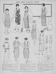 1924 House Apron Patterns. Most with bib fronts, a tie at the back, or cross straps, and two patch pockets.