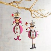Valentine's Day Glittered King & Queen of Diamonds Ornament Set