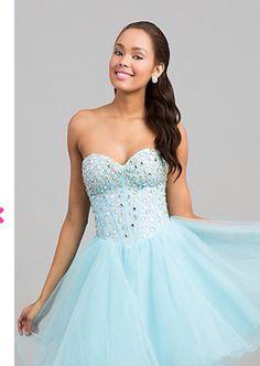 Light blue strapless dress