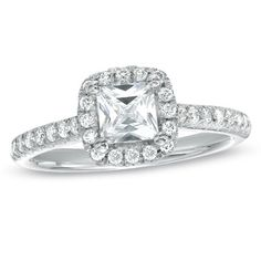 For Eternity 1 CT. T.W. Princess-Cut Diamond Frame Engagement Ring in 14K White Gold   ITEM #: 18305474