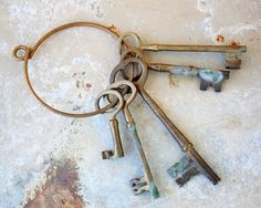 Set of Five Large Brass Skeleton Keys by BailiwickVintage on Etsy, $45.00
