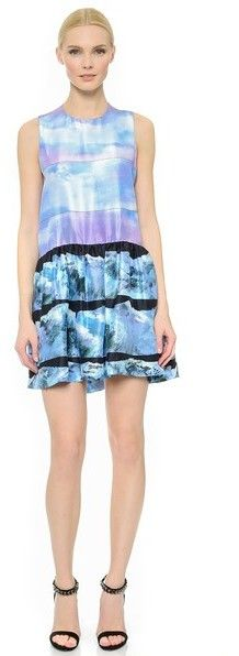 Victoria Victoria Beckham Ruffle Printed Dress