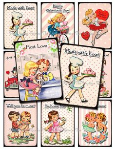 INSTANT DOWNLOAD, Digital Collage Sheet, Retro Vintage Valentines, Love, Anniversary, Scrapbooking, Cards, Tags, Kids, Girls, ATC