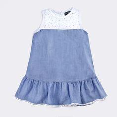 Vestido de Niña Denim Combinado - Vestidos - Ropa - Niña - Conguitos