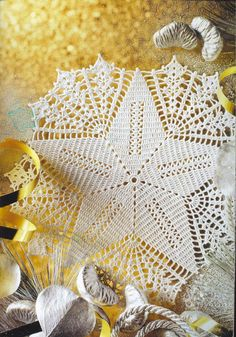 Free Shipping Crocheted Doily White Star , Crochet Tabletopper   $23