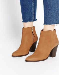 Image 1 ofASOS RAMSDEN Pointed Zip Leather Ankle Boots