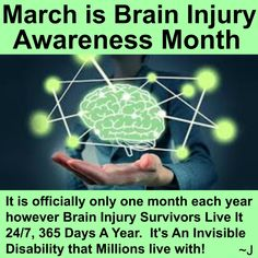 Everyone should be aware year round!  This can happen to Anyone, Anywhere, Anytime.  Brain Injury never discriminates!!!