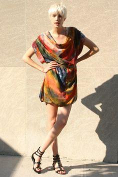 Agyness Deyn wearing Beckerman tie dye cowl dress!