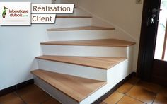 Renovation concrete staircase with wooden steps Stairs In Kitchen, Basement Stairs, House Stairs, Concrete Staircase, Modern Staircase, Staircase Ideas, L Shaped Stairs, Interior Design Jobs, Wooden Steps
