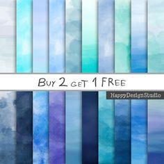 Blue watercolor digital paper pack 12x12 by HappyDesignStudio, zł12.50