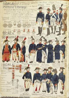 ******** Militaria, Italia XIX secolo. Uniformi militari del regno di Etruria, 1801. Tavola dal Codice Cenni.