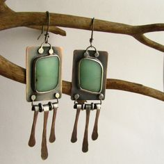 Artisan Earrings - Sterling Silver, Copper And Chrysoprase Earrings by etsy artist Mocahete