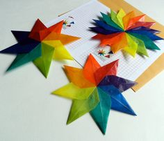 Hand-folded Kite Paper Rainbow Stars - One 16 Pointed and Two 8 Pointed Stars - handworkstudio.etsy.com