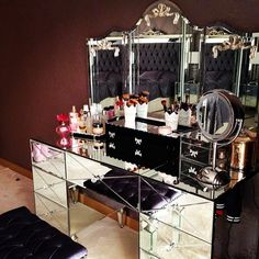 Beautiful mirrored vanity. Perfect for the Diva in you. Or Me. But; especially Me.