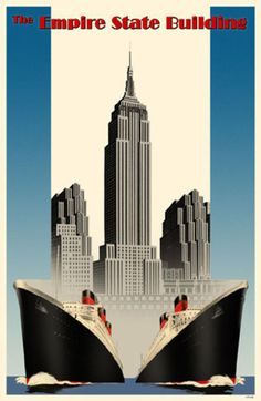 Vintage Travel Poster - USA - New York - Empire State Building - Shipping