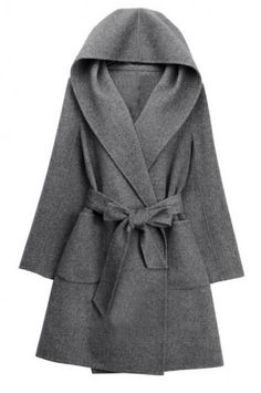 Hooded wool coat double coat