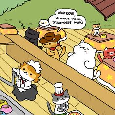 To celebrate my completion on Neko Atsume, I made that huge homage to thanks for the great time I had playing it and I hope they add plenty more items and cats to it! Crazy Cat Lady, Crazy Cats, Neko Atsume Kitty Collector, Cute App, Neko Cat, Kitty Games, Kittens, Cute Animals, Nerd