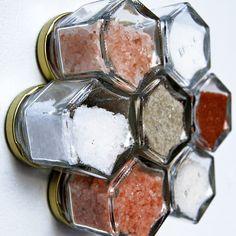 World Salts Gift Set.  OR DIY magnet board spice rack reusing Trader Joe's Caper bottles! Spice Mixes, Spice Jars, Spice Set, Hawaiian Dishes, Natural Salt, Diy Magnets, Gourmet Recipes, Charity Gifts, Coarse Salt