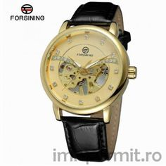 FORSINING Men's Vintage Mechanical Hand-wind Movt Skeleton Dial with Clear Stones Leather Band Transparent Watch Mechanical Hand, Mechanical Watch, Retro Fashion, Mens Fashion, Watch 2, 2 Colours, Watches For Men, Men's Watches, Vintage Men