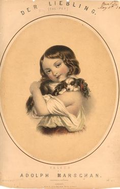 Der Liebling (King Charles Spaniel)   Circa 1860   Hand Colored   Original Lithograph  England - 19th century